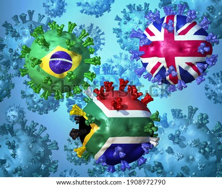 Abstract concept image of the highly contagious SARS-CoV-2 variants from UK, Brazil and South Africa, which are rapidly spreading worldwide and replacing other versions of the virus. 3D illustration Photo stock ©