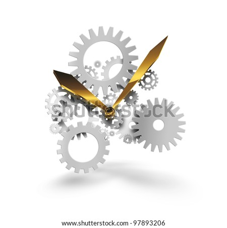 abstract concept time with the arrows and gears