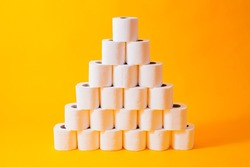 Abstract concept with toilet paper, infochart pyramid