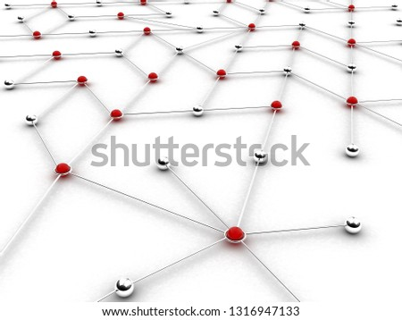 Abstract conception of network and communication, communication. 3D rendering illustration