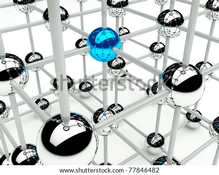 Abstract conception of structure network and communication 3d