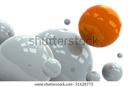 Abstract conceptual composition of a 3D spheres with reflective surface in white background.