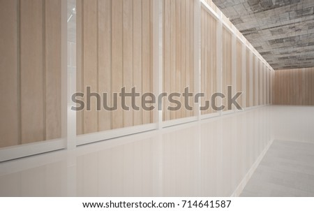 Abstract  concrete and wood interior multilevel public space with window. 3D illustration and rendering. #714641587