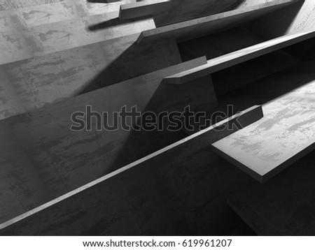 Abstract concrete architecture dark background. 3d render background #619961207