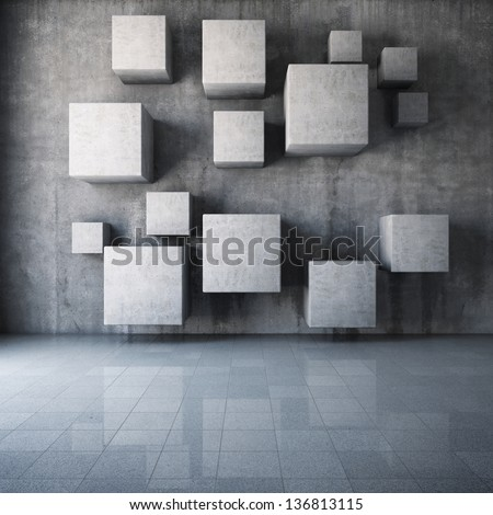 Abstract concrete cubes in the interior