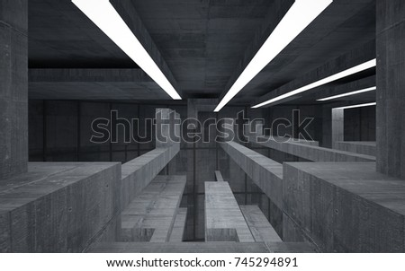 Abstract  concrete interior multilevel public space with neon lighting. 3D illustration and rendering. #745294891
