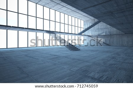 Abstract  concrete interior multilevel public space with window. 3D illustration and rendering. #712745059