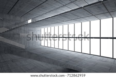 Abstract  concrete interior multilevel public space with window. 3D illustration and rendering. #712862959