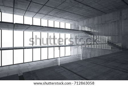 Abstract  concrete interior multilevel public space with window. 3D illustration and rendering. #712863058