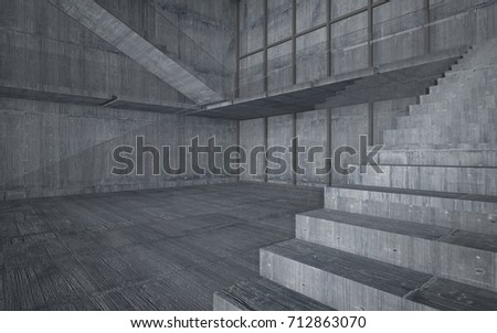 Abstract  concrete interior multilevel public space with window. 3D illustration and rendering. #712863070