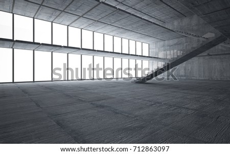 Abstract  concrete interior multilevel public space with window. 3D illustration and rendering. #712863097