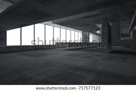 Abstract  concrete interior multilevel public space with window. 3D illustration and rendering. #717577123