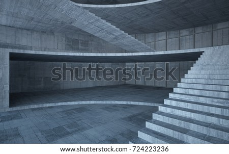 Abstract  concrete interior multilevel public space with window. 3D illustration and rendering. #724223236