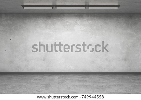 Abstract concrete interior with empty wall. Gallery concept. Mock up, 3D Rendering Stock photo ©