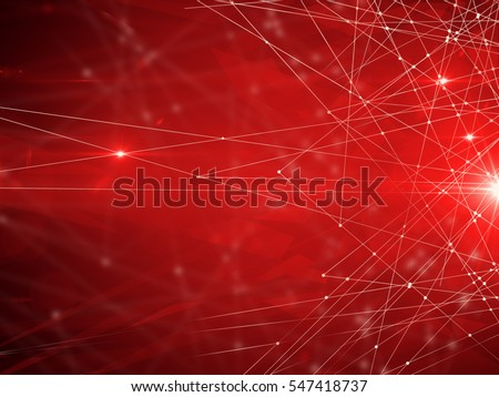 Abstract connected dots on bright red background. Technology concept