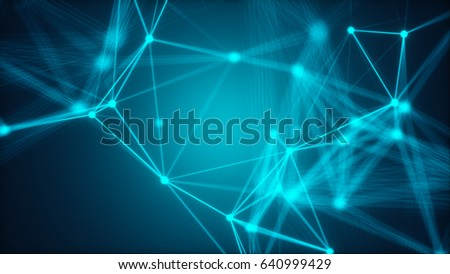 Abstract connected dots. Technology concept. 3d rendering