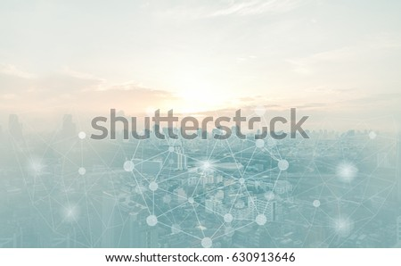 Abstract connection background concept. Polygonal with connect dots with blur city business background.