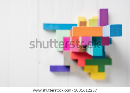 Abstract construction from wooden blocks with copy space. The concept of logical thinking, geometric shapes. #1031612257