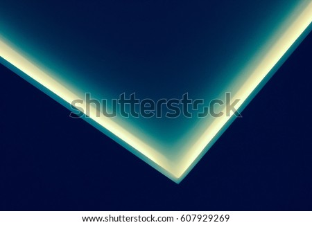 Abstract contemporary architecture background, ceiling lighting corner, neon light stripe over dark blue #607929269