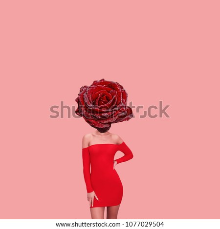 Abstract contemporary art. A womans body with red rose head