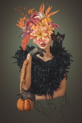 Abstract contemporary art collage halloween portrait of young woman with flowers