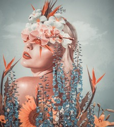 Abstract contemporary art collage portrait of young woman with flowers