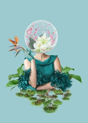 Abstract contemporary art collage portrait of young woman with flowers on face hides her eyes