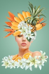 Abstract contemporary art collage portrait of young woman with fruits and flowers