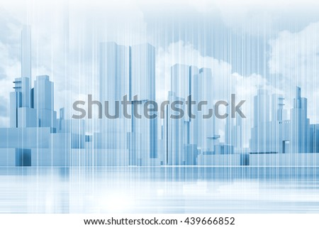 Abstract contemporary city background. Cityscape skyline, blue sky and wire frame lines pattern layer. Blue toned digital 3d render illustration