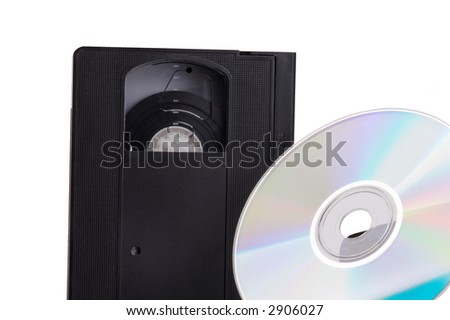 Abstract contrast of the evolution from video cassette to DVD - isolated on white background