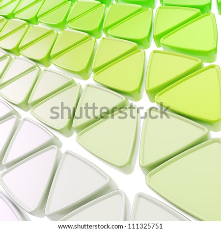 Abstract copyspace geometrical background made of glossy green triangles on white