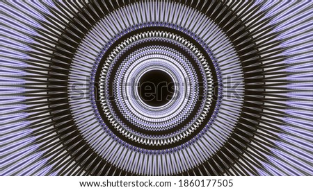 Abstract corridor with shining rings, view inside of an alien space ship in outer space. Animation. Blinking circles forming a funnel on black background, seamless loop. stock photo