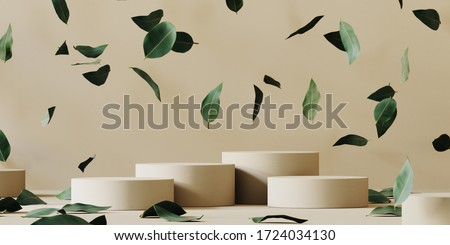 Abstract cosmetic background for product presentation. Beige paper podium and falling green leaves on beige background. 3d rendering illustration.