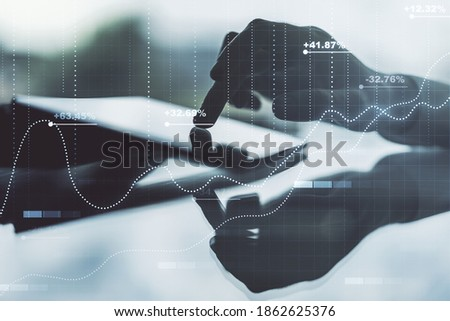 Abstract creative analytics data spreadsheet with finger clicks on a digital tablet on background, analytics and analysis concept. Multiexposure