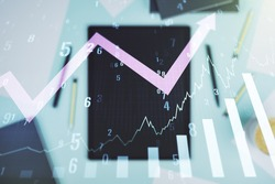Abstract creative financial graph with upward arrow and modern digital tablet on background, top view, forex and investment concept. Multiexposure
