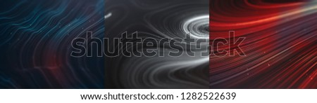 Abstract creative modern colorful ultra wide background. Neon glowing twisted cosmic lines. Beautiful swirls, bright turbulence curls. Smooth astronomy vortex structure. 3d rendering