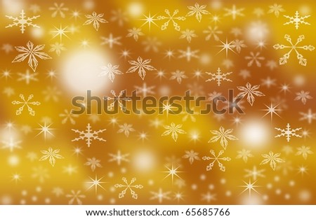 abstract creative romantic ice flower christmas card Illustration  stars snowflakes snow gold yellow