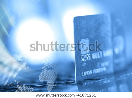 Abstract credit card background in blue tone