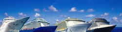 Abstract cruise ships or big liners at abstract port. Collage about travel and vacations concept