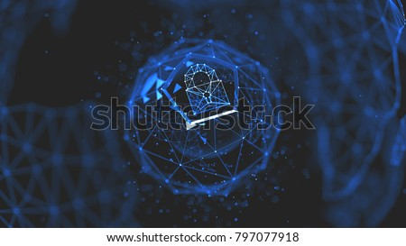 Abstract crypto cyber security technology on global network background. Digital theme. 3D illustration Foto stock ©