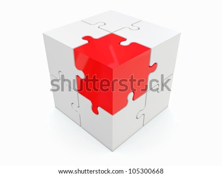 Abstract cube from puzzle on white background. 3d
