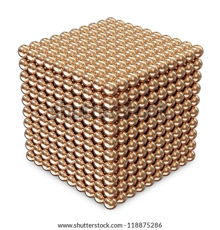 Abstract Cube made from Golden Spheres isolated on white background