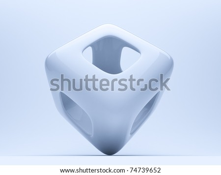 Abstract cube  on blue background. 3d illustration