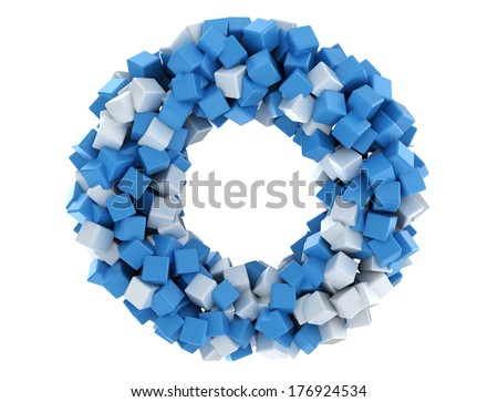 Abstract blue and white cubes