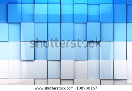 abstract cubes background in blue toned