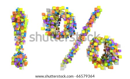 Abstract cubes font exclamation point and percent symbol isolated over white