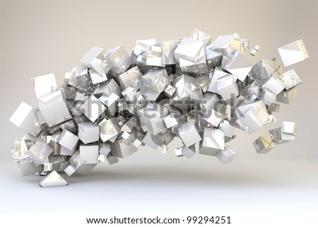 Abstract cubes formed in wave isolated on white background