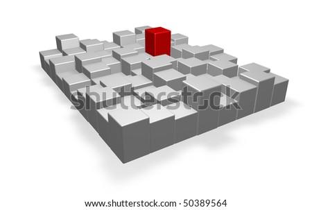 abstract cubes installation - 3d illustration