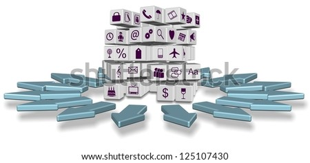 Abstract cubes with different application icons and arrows pointing all directions / Apps everywhere
