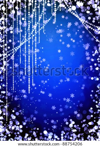 Abstract curtains of holiday garland on blue background